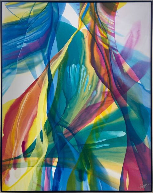 If Walls Can Talk by Antonio Molinari at Art Leaders Gallery. rainbow poured paint on canvas.