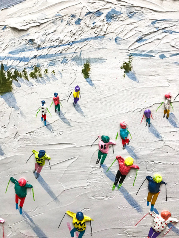 """Hitting the Slopes"" by Alfredo Candela at Art Leaders Gallery, voted ""Michigan's Best Fine Art Gallery"" is located in the heart of West Bloomfield. This full service fine art gallery is the destination for all your art and custom picture framing needs. Our extensive inventory of art includes styles ranging from contemporary to traditional. The gallery represents international, national, and emerging new talent as well as local Michigan artists."