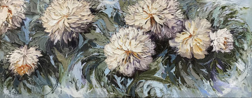 """Joyful Chrysanthemums"" by Anastasiya Skryleva at Art Leaders Gallery, voted ""Michigan's Best Fine Art Gallery"" is located in the heart of West Bloomfield. This full service fine art gallery is the destination for all your art and custom picture framing needs. Our extensive inventory of art includes styles ranging from contemporary to traditional. The gallery represents international, national, and emerging new talent as well as local Michigan artists."