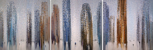"""Big City Dreams Triptych II"" by Ekaterina Ermilkina at Art Leaders Gallery, voted ""Michigan's Best Fine Art Gallery"" is located in the heart of West Bloomfield. This full service fine art gallery is the destination for all your art and custom picture framing needs. Our extensive inventory of art includes styles ranging from contemporary to traditional. The gallery represents international, national, and emerging new talent as well as local Michigan artists."