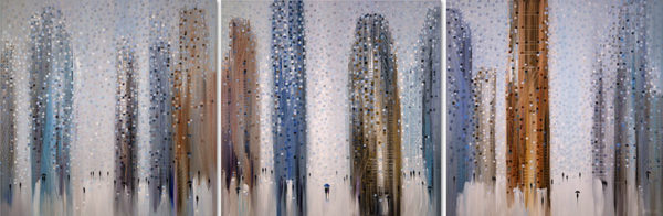 """""""Big City Dreams Triptych II"""" by Ekaterina Ermilkina at Art Leaders Gallery, voted """"Michigan's Best Fine Art Gallery"""" is located in the heart of West Bloomfield. This full service fine art gallery is the destination for all your art and custom picture framing needs. Our extensive inventory of art includes styles ranging from contemporary to traditional. The gallery represents international, national, and emerging new talent as well as local Michigan artists."""
