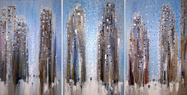 """""""Big City Dreams Triptych"""" by Ekaterina Ermilkina at Art Leaders Gallery, voted """"Michigan's Best Fine Art Gallery"""" is located in the heart of West Bloomfield. This full service fine art gallery is the destination for all your art and custom picture framing needs. Our extensive inventory of art includes styles ranging from contemporary to traditional. The gallery represents international, national, and emerging new talent as well as local Michigan artists."""