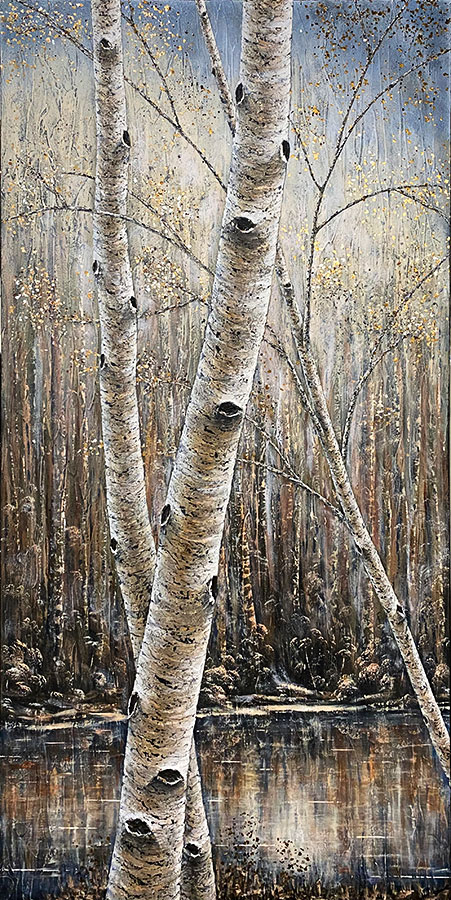 """Birches on the Lake"" by Gerd Schmidt atArt Leaders Gallery, voted ""Michigan's Best Fine Art Gallery"" is located in the heart of West Bloomfield. This full service fine art gallery is the destination for all your art and custom picture framing needs. Our extensive inventory of art includes styles ranging from contemporary to traditional. The gallery represents international, national and emerging new talent as well as local Michigan artists."