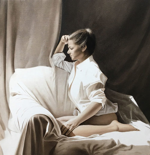 August by Alexander Volkov; woman in a white shirt sitting on a couch looking out a window