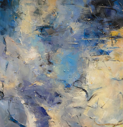 Blue Essence I by David Ma at Art Leaders Gallery. Large-Scale Blue Abstract Painting, blue sky with clouds