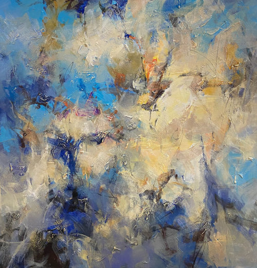 Blue Essence II by David Ma at Art Leaders Gallery. Large-Scale Blue Abstract Painting, blue sky with clouds