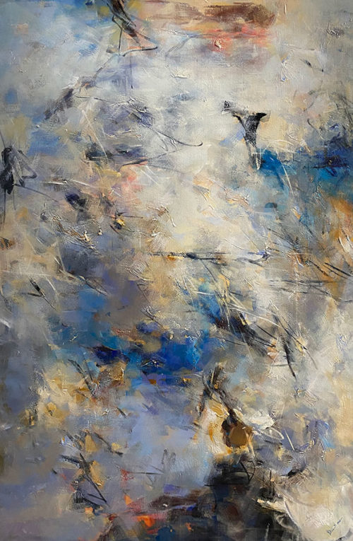 Blue Essence III by David Ma at Art Leaders Gallery. Large-Scale Blue Abstract Painting, blue sky with clouds