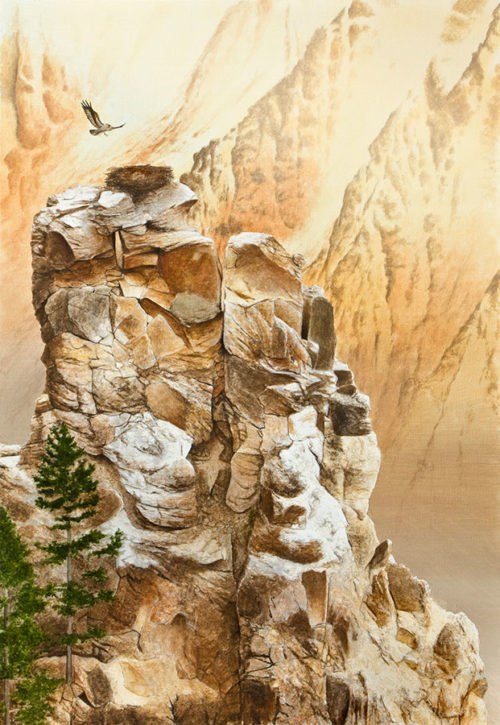 Born Free by Alexander Volkov at Art Leaders Gallery, mountain cliff with eagle nest,