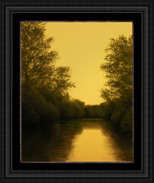 Brandywine Evening by Alexander Volkov; pond and trees scene at dusk with black frame