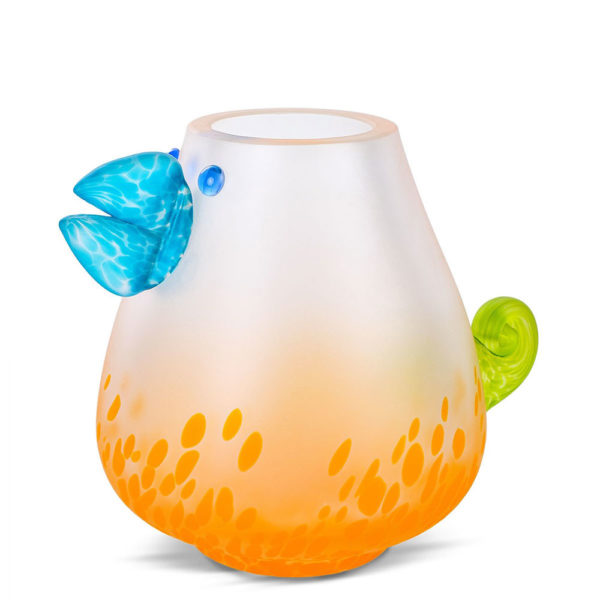 """""""Chicko"""" Glass Vase with Blue Beak by Borowski Glass Studio at Art Leaders Gallery"""