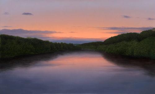 Delaware Sunset by Alexander Volkov; forest lake at dusk