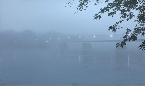Evening Fog Alla Prima by Alexander Volkov; bridge and river in heavy blue fog