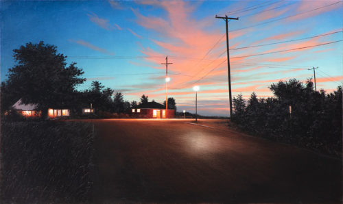 Independence Day by Alexander Volkov; small town street at dusk