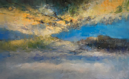 Lake Reflections by David Ma. Abstract mountain landscape, Large-Scale Blue Abstract Painting