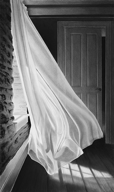 Moon Dancing by Alexander Volkov; black and white curtain flowing in the wind at night