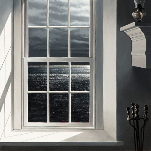 Moon Wind by Alexander Volkov; ocean view through a window lit by a full moon
