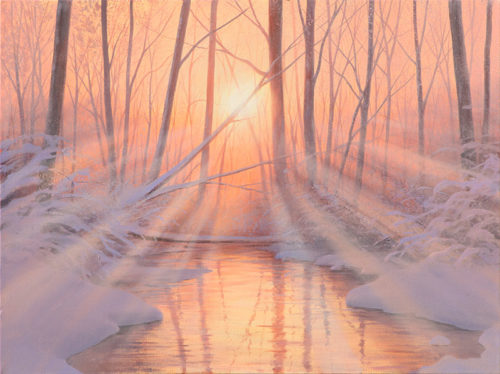 Dawn Frost by Alexander Volkov; mountain trail lit by moonlight