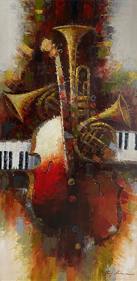 Oil Painting of Musical Instrument Collage