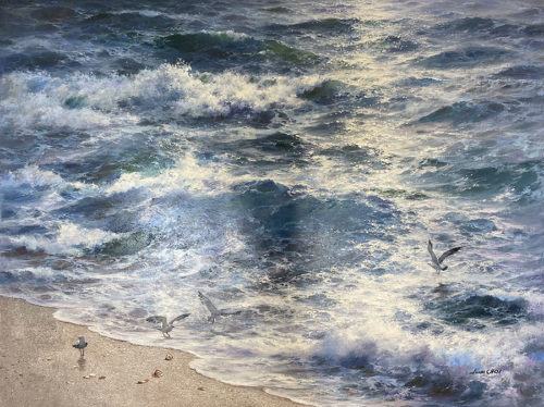 Realistic Seascape with Beach and Seagulls