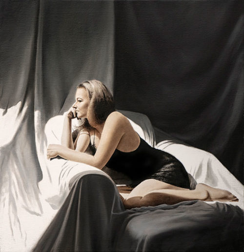 Noir by Alexander Volkov; woman laying in bed looking out a window