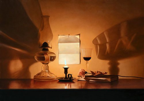 PS I Love You by Alexander Volkov; candle lit still life with a letter pinned to the wall.