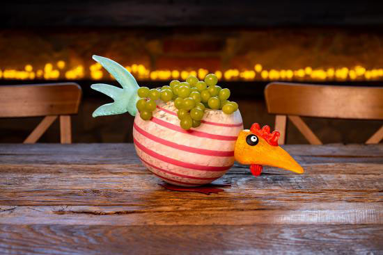 """""""Pick Chick"""" Glass Bowl in White by Borowski Glass Studio at Art Leaders Gallery"""