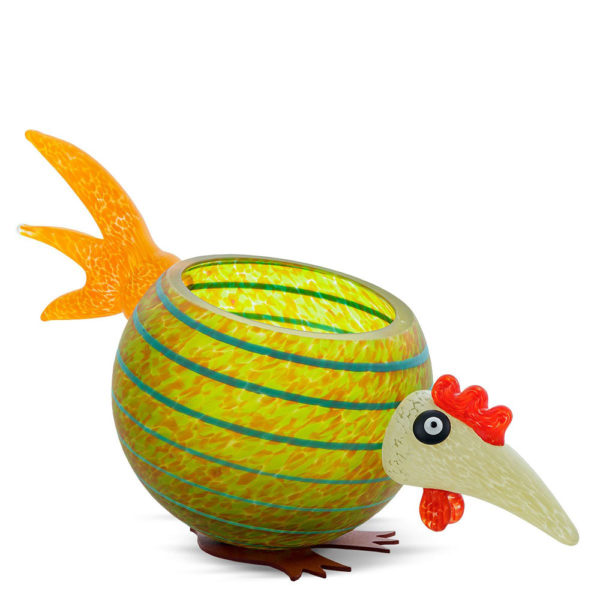 """""""Pick Chick"""" Glass Bowl in Olive by Borowski Glass Studio at Art Leaders Gallery"""