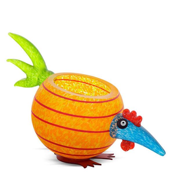 """Pick Chick"" Glass Bowl in Orange by Borowski Glass Studio at Art Leaders Gallery"