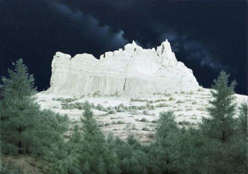 Sedona Starlight by Alexander Volkov; mountain lit by moonlight