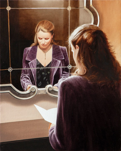 The Letter by Alexander Volkov; woman in front of a mirror reading a letter