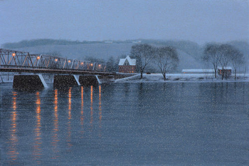 Winter Crossing Alla Prima by Alexander Volkov; river and bridge scene during a nighttime snowfall