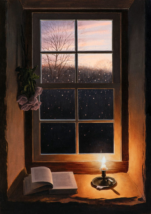 A Winter's Tale by Alexander Volkov; mountain trail lit by moonlight