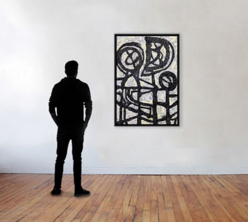 """Affectum by Rodney Denne (RED) from the """"Dialogue"""" series. Black and white abstract oil painting on canvas."""