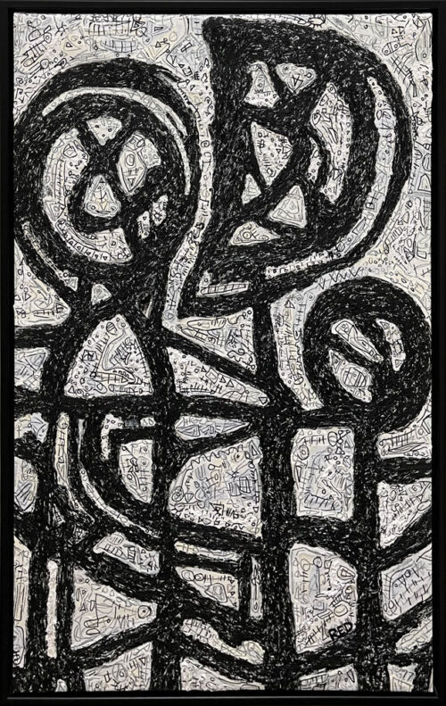 "Affectum by Rodney Denne (RED) from the ""Dialogue"" series. Black and white abstract oil painting on canvas."