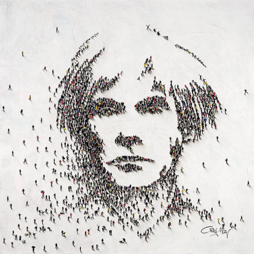 Multiple figures creating Andy Warhol