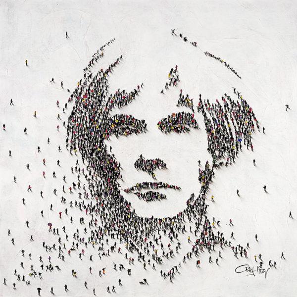 Multiple figures creating Andy Warhol