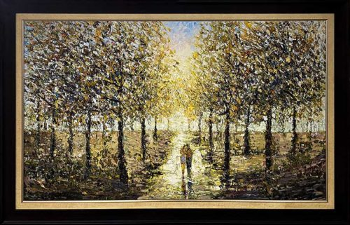 Textured Oil Painting of Fall Scene with Couple in Park