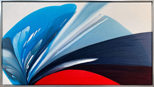 Blue Monarch I by Antonio Molinari at Art Leaders Gallery. Framed poured paint abstract on canvas with bold red and blue colors