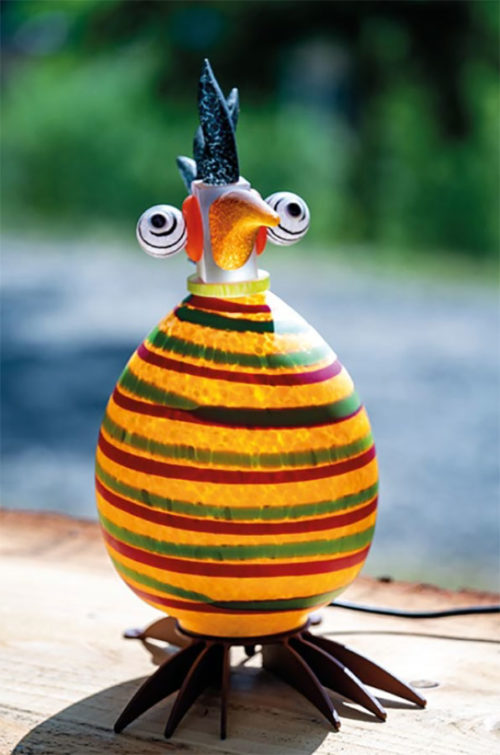 Glass Bird Lamp as Bob Marley