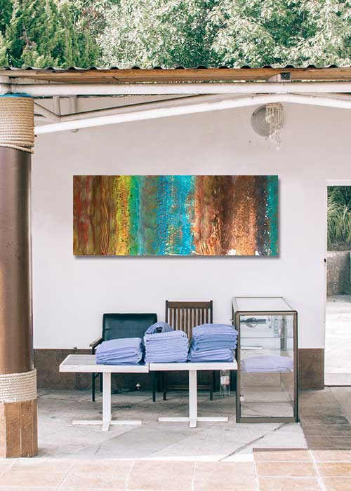 Outdoor Pool area with Ken Rausch Wall Sculpture