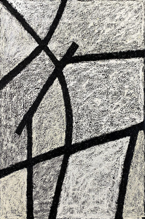 """Encrypted by Rodney Denne (RED) from the """"Dialogue"""" series. Black and white abstract oil painting on canvas."""