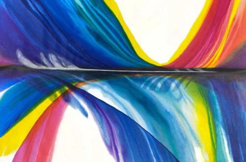 Estes by Antonio Molinari; poured paint art with blue pink and yellow colors