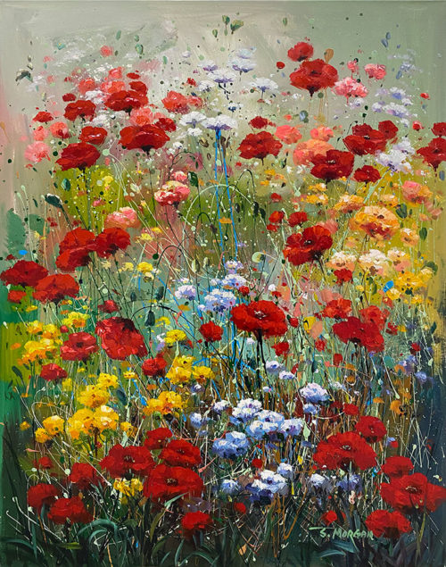 A field of Flowers painted with oil paint
