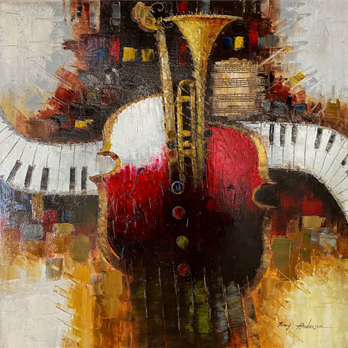 Oil Painting of Guitar and Keyboard