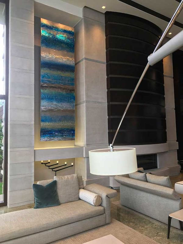 Interior photo with metal wall art