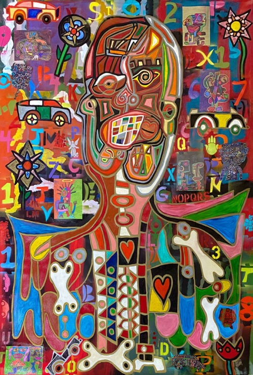 Machines of Loving Grace by Rodney Denne (RED) from Exposed series. Mixed Media painting on canvas