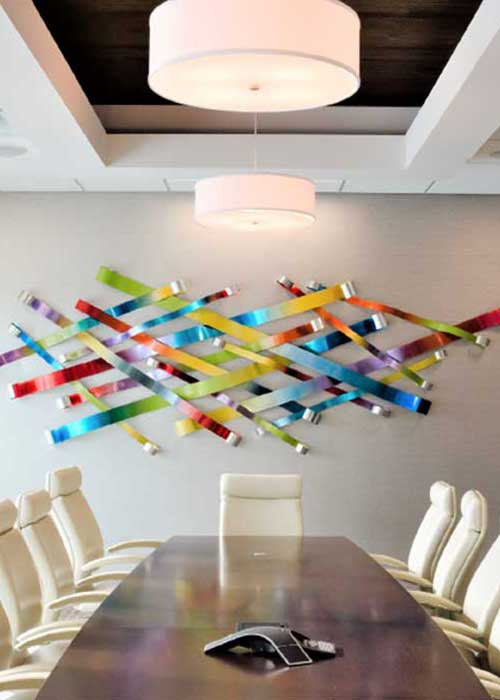 Colorful Metal Ribbon Wall Sculpture