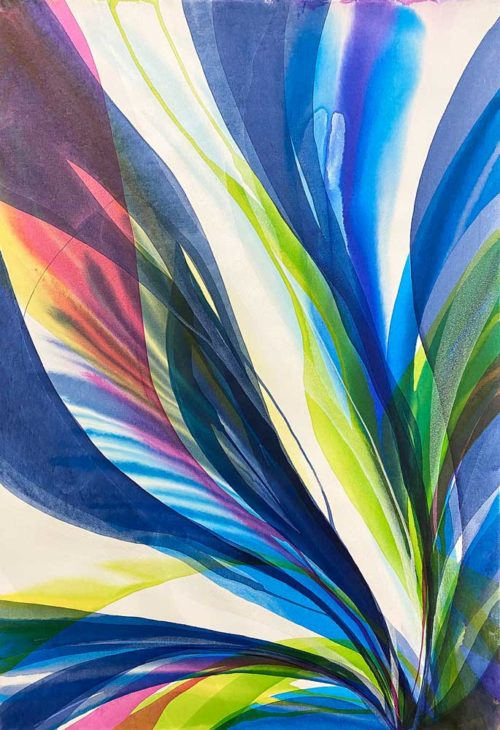 Pacific Light by Antonio Molinari; poured paint art with blue pink and yellow colors
