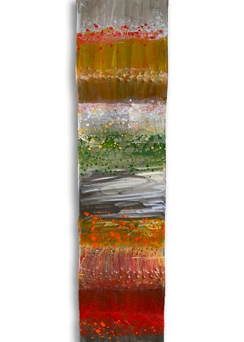Orange, Green, Red, and Silver Copper Wall Sculpture