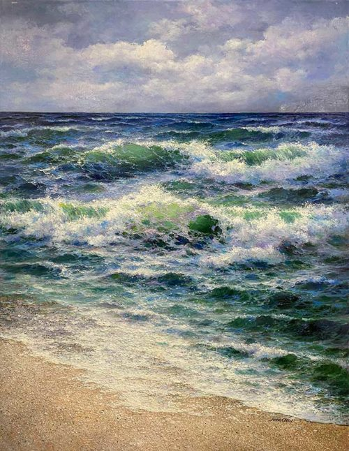 Realistic Oil Painting of Crashing waves on beach